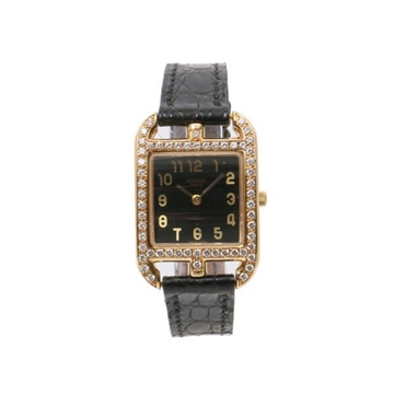 Hermes 18k gold & diamonds black vintage watch