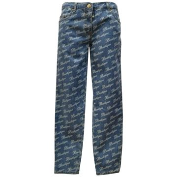 Moschino 1980s Boutique Stamp Print Denim Blue Vintage Trousers