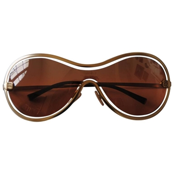 Chanel 1990s Cut Out Peach Gold Tone Vintage Sunglasses