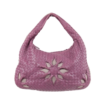 Bottega Veneta Intrecciato Woven Leather Flower purple vintage Hobo Bag