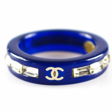 Chanel CC logo Navy & silver vintage Ring