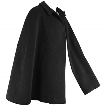 Hardy Amies 1960s Mens Black Wool Vintage Cape