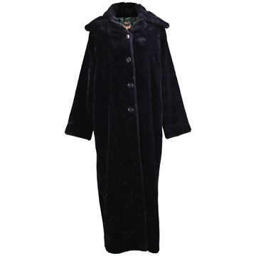 Romeo Gigli 1990s Darkest Blue Faux Fur Vintage Maxi Coat