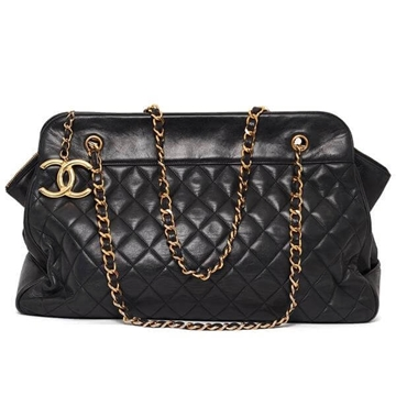 Chanel large lambskin black vintage tote bag with CC charm