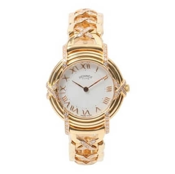 Picture of HERMES 18K gold & Diamond Ruban vintage ladies watch