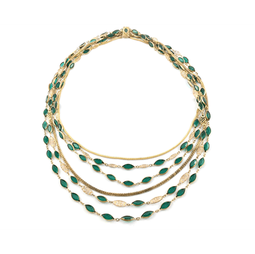 Picture of Vintage 1940s Multistrand Gold & Green Paste Necklace