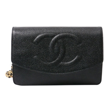CHANEL Caviar Skin CC Mark Wallet & Shoulder bag