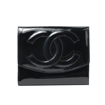 CHANEL Patent black vintage ladies Wallet