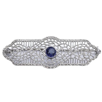 Art Deco 10K White Gold & Faux Sapphire Filigree Brooch