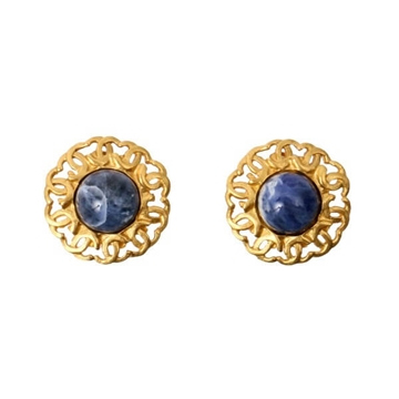 Chanel 1990s Circular CC Cut out  Blue Stone Vintage Earrings