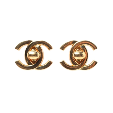 Chanel 1990s CC Turnlock Gold Tone Vintage Earrings