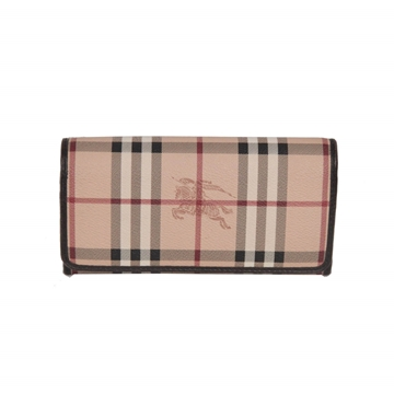Burberry Nova Check Plaid Beige Vintage Canvas Wallet