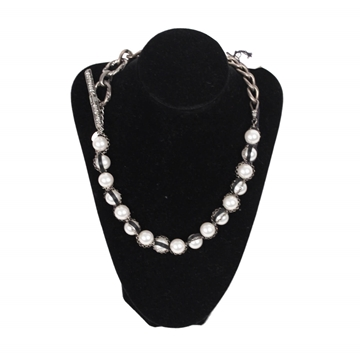 Lanvin Metal & Pearls silver vintage necklace