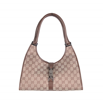 Gucci Monogram Canvas Stirrup beige vintage Hobo Bag