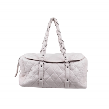 Chanel Quilted Distressed Leather Lady Braid white tote Bag