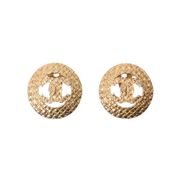 Chanel Circular Woven CC Cut Out Gold Tone Vintage Earrings