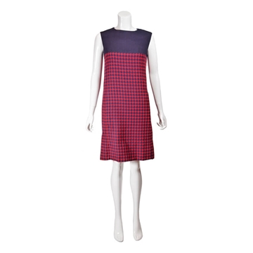 Saks Fifth Avenue 1960s dogstooth check red & navy  vintage dress