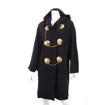 Moschino Couture 1990s Lion Head Doorknocker Hooded Black Vintage Coat