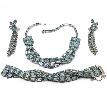 Weiss 1950s Faux Alexandrite Blue Vintage Necklace, Bracelet and Earrings Set