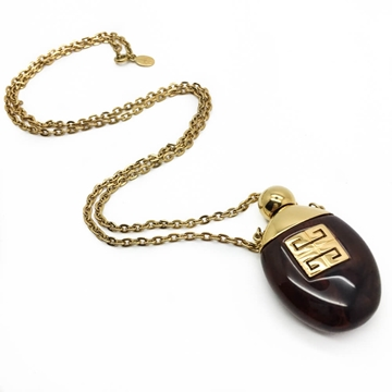 GIVENCHY 1970s Faux Tortoiseshell Scent Bottle Vintage Pendant Necklace