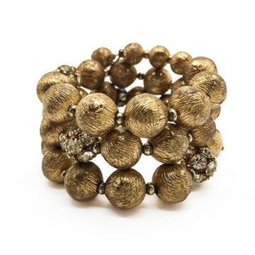 Vintage 1950s Gilt and Crystal Ball wraparound bracelet cuff
