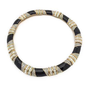 CINER 1980s twist effect crystal rhinestone and black enamel vintage collar necklace