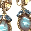 Vintage 1950s Saphiret and Crystal 1950s Tear Drop Clip Earrings