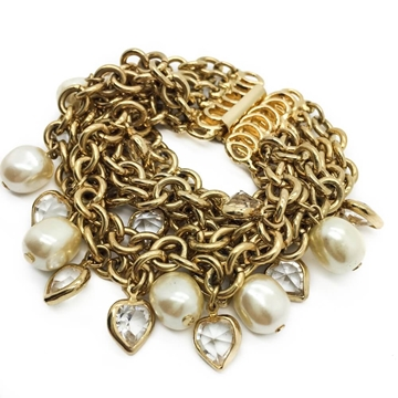 Vintage 1980s-1990s Gilt Crystal Hearts and Faux Pearl Bracelet