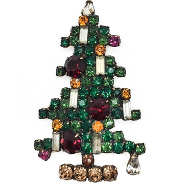 Weiss 1950s Rare Large 6 Candle Christmas Tree Vintage Brooch