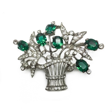 TRIFARI 1940s Basket of Flowers Crystal Rhinestone in Sterling Silver Figural Vintage Brooch