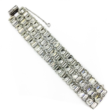 WEISS 1950s clear crystal rhinestone rhodium plated vintage Cocktail Bracelet