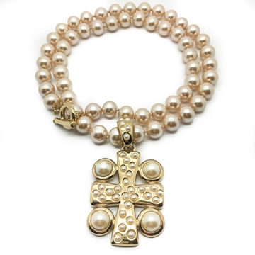 GIVENCHY Faux Pearl Rope Gilt Pearl Cross Vintage Pendant Necklace