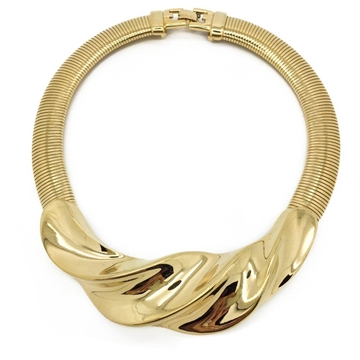 Givenchy circa 1990s Twist Gold Tone Vintage Collar Necklace