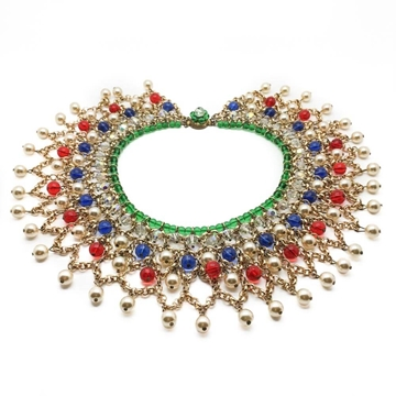Vintage 1950s Indian Mughal Style Glass & Gilt Collar Necklace