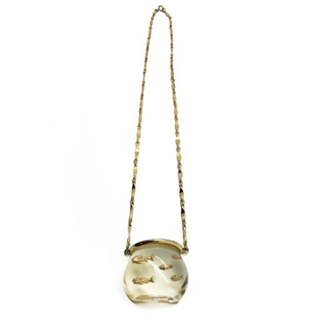 Vintage 1950s Lucite and Gilt Goldfish bowl necklace