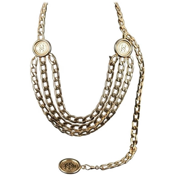 Chanel 1990s 31 Rue Cambon CC Medallion Triple Row Chain Gold Tone Vintage Necklace Or Belt