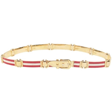 Gucci Articulated Enamel Striped Red and White Vintage Belt