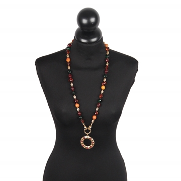 Chanel 1970s Gold Metal & Glass Beads Long vintage Necklace