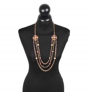 Chanel 1984 3 Row Cabochon gold tone vintage necklace