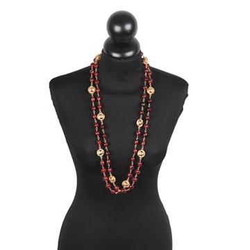 Chanel 1970s Gold Metal & Burgundy Glass Beads vintage Long Necklace