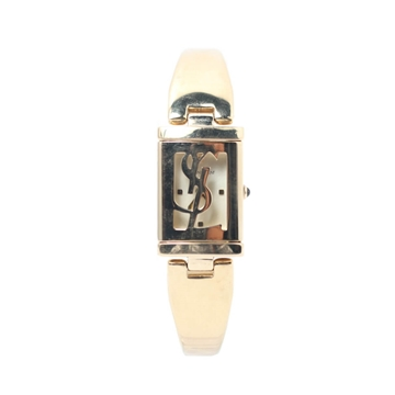 Yves Saint Laurent Square Logo Gold Tone Vintage Watch