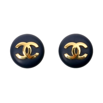 Chanel Oversized Button Monogram Detail Navy Blue Vintage Earrings