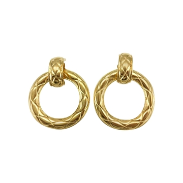 Chanel 1980s Large Quilted Gold-Plated Hoop Vintage Earrings