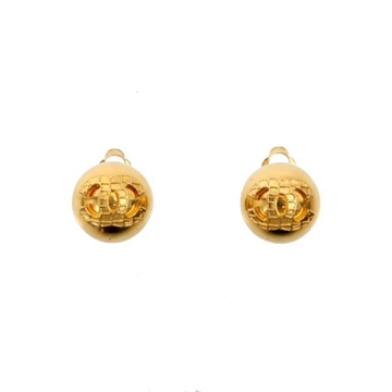 Chanel Textured Monogram Gold Tone Vintage Earrings