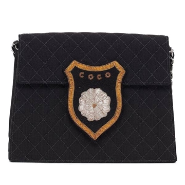 Chanel Coco badge Black Vintage Cross Body Bag