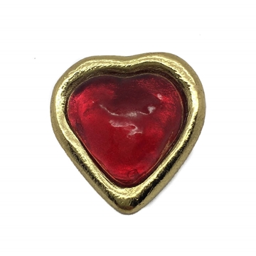 Yves Saint Laurent Heart Shaped Poured Glass Red Vintage Brooch