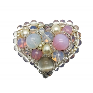 Coppola e Toppo 1950s Heart Shaped Opaline Glass Faux Pearls Art Glass Vintage Brooch