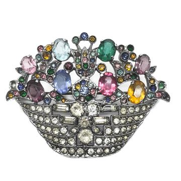 Antique Early 20th Century Crystal Paste Czech Flower Basket Brooch