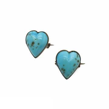 Antique Victorian Gold Fleck Turquoise Glass Heart Scatter Pins