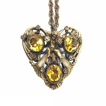 Joseff of Hollywood Cherub Heart Flowers Vintage Pendant Necklace